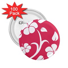 Pink Hawaiian Flower White 2.25  Buttons (100 pack)