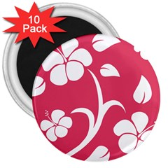 Pink Hawaiian Flower White 3  Magnets (10 pack)