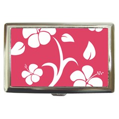 Pink Hawaiian Flower White Cigarette Money Cases