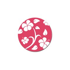 Pink Hawaiian Flower White Golf Ball Marker (4 pack)