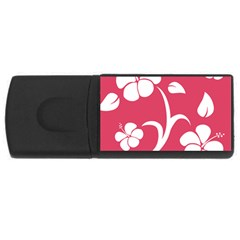 Pink Hawaiian Flower White USB Flash Drive Rectangular (2 GB)