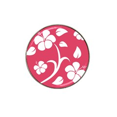 Pink Hawaiian Flower White Hat Clip Ball Marker (4 pack)