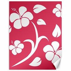 Pink Hawaiian Flower White Canvas 18  x 24