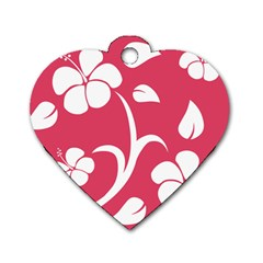 Pink Hawaiian Flower White Dog Tag Heart (Two Sides)