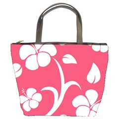 Pink Hawaiian Flower White Bucket Bags