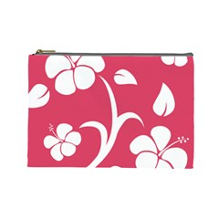Pink Hawaiian Flower White Cosmetic Bag (Large)