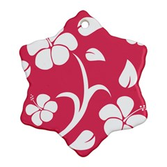 Pink Hawaiian Flower White Snowflake Ornament (Two Sides)