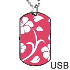 Pink Hawaiian Flower White Dog Tag USB Flash (Two Sides)
