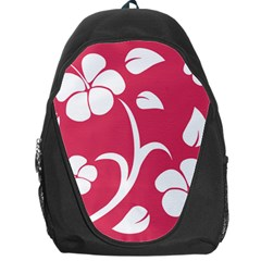 Pink Hawaiian Flower White Backpack Bag