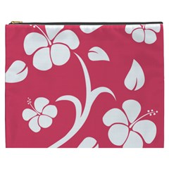 Pink Hawaiian Flower White Cosmetic Bag (XXXL)