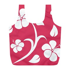 Pink Hawaiian Flower White Full Print Recycle Bags (L)
