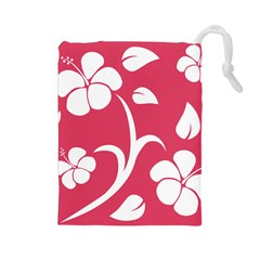 Pink Hawaiian Flower White Drawstring Pouches (Large)