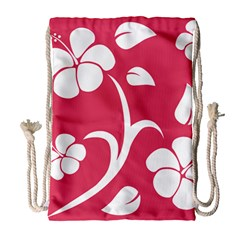 Pink Hawaiian Flower White Drawstring Bag (large)
