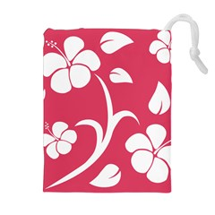 Pink Hawaiian Flower White Drawstring Pouches (Extra Large)