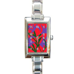Purple Flower Red Background Rectangle Italian Charm Watch