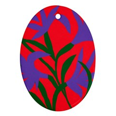 Purple Flower Red Background Ornament (Oval)