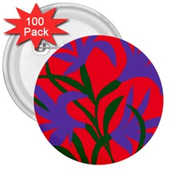 Purple Flower Red Background 3  Buttons (100 pack)