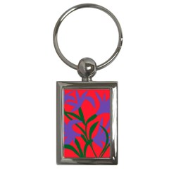 Purple Flower Red Background Key Chains (rectangle)