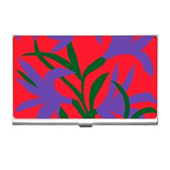 Purple Flower Red Background Business Card Holders