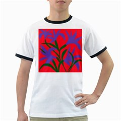 Purple Flower Red Background Ringer T-Shirts