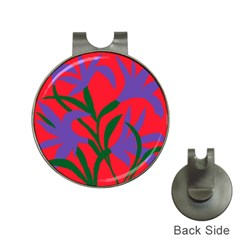 Purple Flower Red Background Hat Clips with Golf Markers