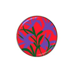 Purple Flower Red Background Hat Clip Ball Marker (10 pack)