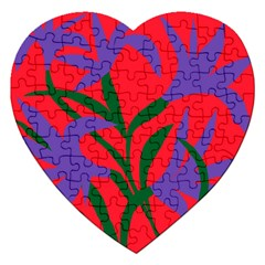 Purple Flower Red Background Jigsaw Puzzle (Heart)
