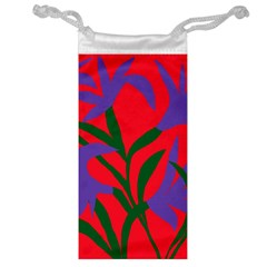 Purple Flower Red Background Jewelry Bag