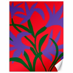 Purple Flower Red Background Canvas 18  X 24