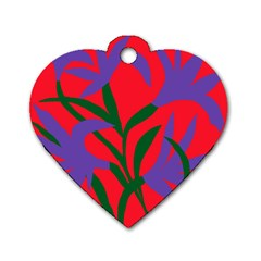 Purple Flower Red Background Dog Tag Heart (two Sides)