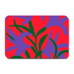Purple Flower Red Background Plate Mats