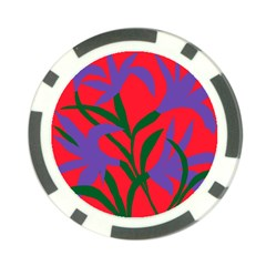 Purple Flower Red Background Poker Chip Card Guard