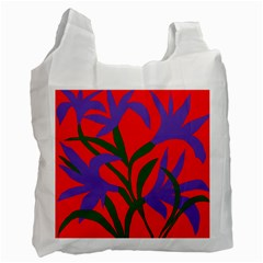 Purple Flower Red Background Recycle Bag (One Side)