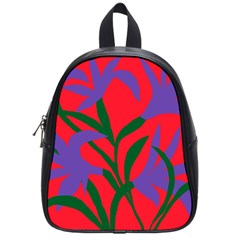 Purple Flower Red Background School Bags (Small)