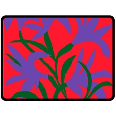 Purple Flower Red Background Fleece Blanket (Large)