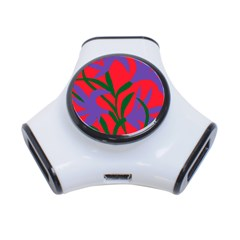 Purple Flower Red Background 3-Port USB Hub