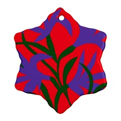 Purple Flower Red Background Ornament (Snowflake)