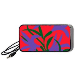 Purple Flower Red Background Portable Speaker (Black)