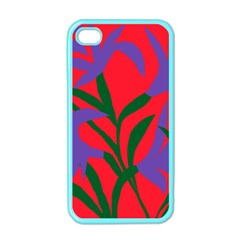 Purple Flower Red Background Apple iPhone 4 Case (Color)