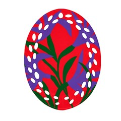 Purple Flower Red Background Oval Filigree Ornament (Two Sides)