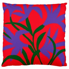 Purple Flower Red Background Large Cushion Case (One Side)