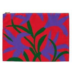 Purple Flower Red Background Cosmetic Bag (XXL)
