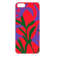 Purple Flower Red Background Apple iPhone 5 Seamless Case (White)