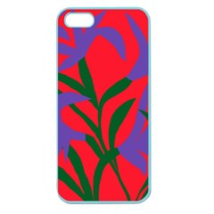 Purple Flower Red Background Apple Seamless iPhone 5 Case (Color)