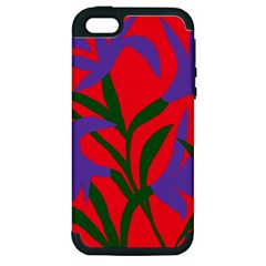 Purple Flower Red Background Apple iPhone 5 Hardshell Case (PC+Silicone)