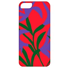 Purple Flower Red Background Apple iPhone 5 Classic Hardshell Case