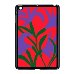 Purple Flower Red Background Apple iPad Mini Case (Black)