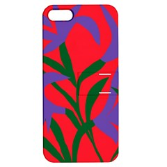 Purple Flower Red Background Apple iPhone 5 Hardshell Case with Stand
