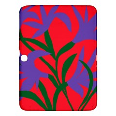 Purple Flower Red Background Samsung Galaxy Tab 3 (10.1 ) P5200 Hardshell Case
