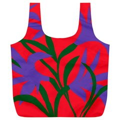 Purple Flower Red Background Full Print Recycle Bags (l)